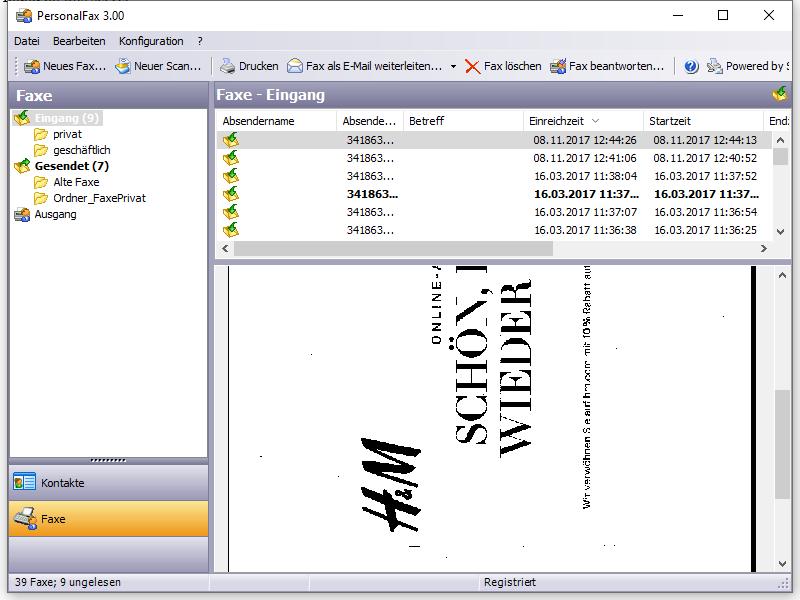 Screenshot vom Programm: PersonalFax